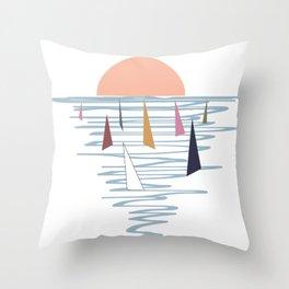 Minimal sunset with sails Throw Pillow