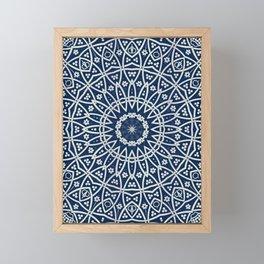 Mandala Bohemia Mosaic Navy Grey Framed Mini Art Print