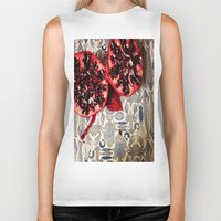 pomegranate Biker Tanks featuring Pomegranate  by Carey Lee Designs