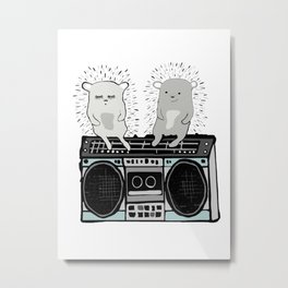 Hedgehogs on Boombox Metal Print