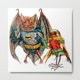 Bat and Robin Metal Print