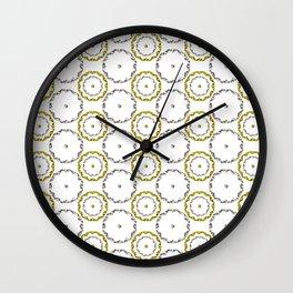Gold and Silver Rings Polka Dot Pattern Wall Clock