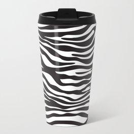 Animal Print, Zebra Stripes - Black White Travel Mug