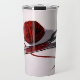 Ball of Red Yarn with Scissors, Still Life Travel Mug