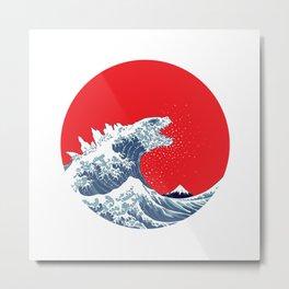 Hokusai Godzilla - Variant Metal Print