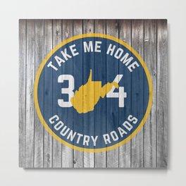 West Virginia State Map Take Me Home WV Country Roads Pride 304 Metal Print