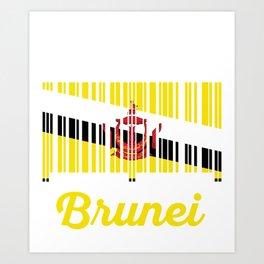 brunei Barcode Flag Art Print