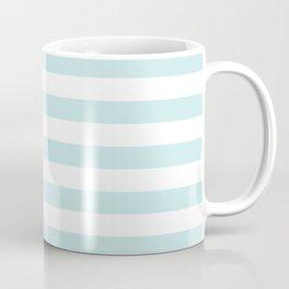 Duck Egg Pale Aqua Blue and White Wide Horizontal Beach Hut Stripe Coffee Mug