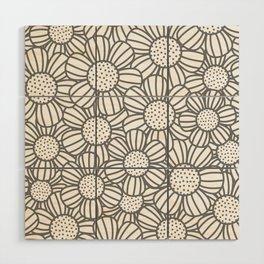 Field of daisies - gray Wood Wall Art