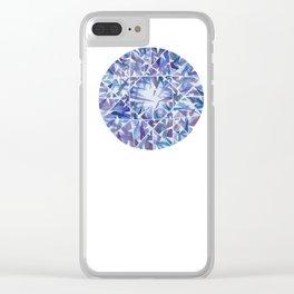 Blue Purple Round Gem Clear iPhone Case