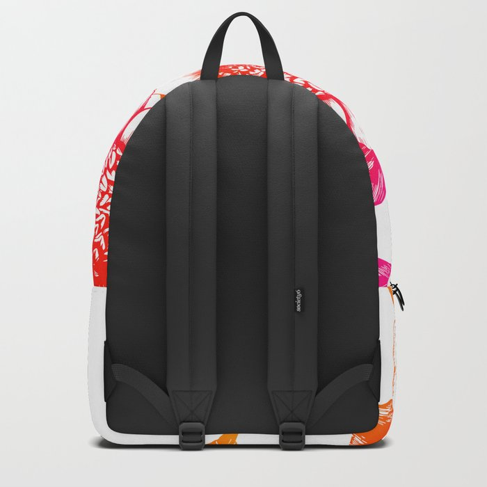 Pink and Orange Flowers Elegant Pattern Backpack