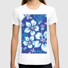 Blue & White Aloha Hawaiian Hibiscus Flower Bloom Pattern T-shirt