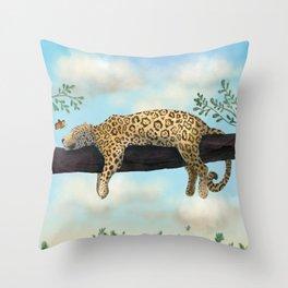 Sleepy Jaguar Hanging on a Branch Throw Pillow