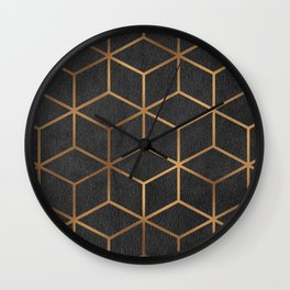Charcoal and Gold - Geometric Textured Cube Design I Wall Clock