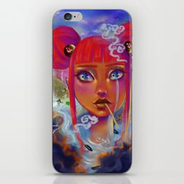 Girl surrounded by dark clouds is jealous of others iPhone Skin