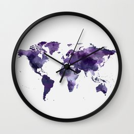 Purple World Map Wall Clock