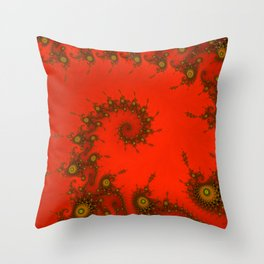 Red fractal. Abstract pattern Throw Pillow