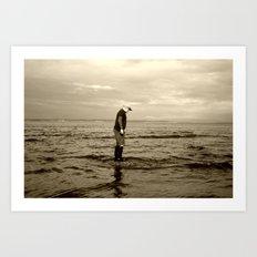 A Boy and The Sea Art Print