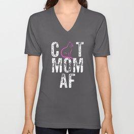 CAT MOM AF, Crazy Cat Mom, Cat Mom Gift, Crazy Cat Lady Unisex V-Neck