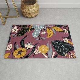 Midnight Jungle Pattern on Plum Rug