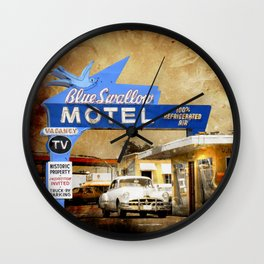 Blue Swallow Motel Wall Clock