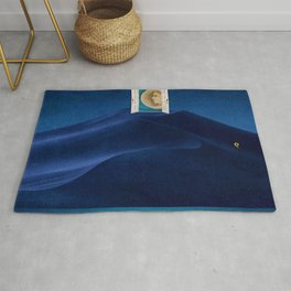 Al Hombre - The Door to the Other Side in the Desert & Sunflower magical realism landscape painting Rug