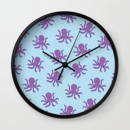 Friendly Octopus // Blue Pattern Wall Clock
