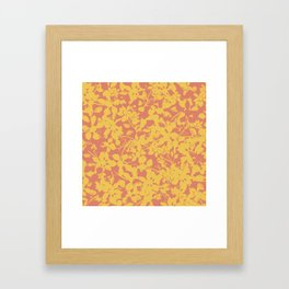Yellow and Coral Botanical Pattern - Broken but Flourishing Framed Art Print