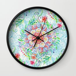 Messy Boho Floral in Rainbow Hues Wall Clock