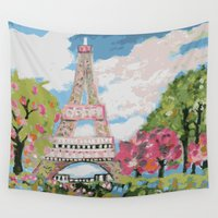 karen hallion Wall Tapestries featuring Eiffel Tower by Karen Fields by Karen Fields Design
