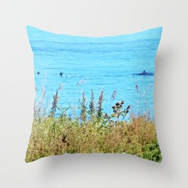 Whale chasing ducks close to shore Throw Pillow