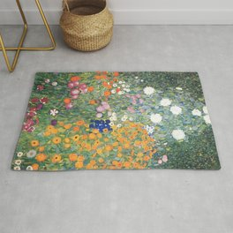 Cottage Flower Garden Gustav Klimt Painting Rug