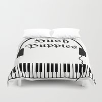 puppies Duvet Covers featuring Hush Puppies Reverse  by Mike Semler