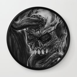 Charcoal Skull Of Death Wall Clock