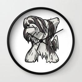 Funny Dabbing Lhasa Apso Dog Dab Dance Wall Clock