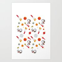 snoopy Art Prints featuring Snoopy Space by Yildiray Atas