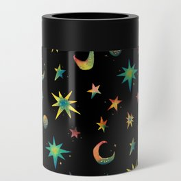Colorful Watercolor Stars and Moons Pattern Can Cooler