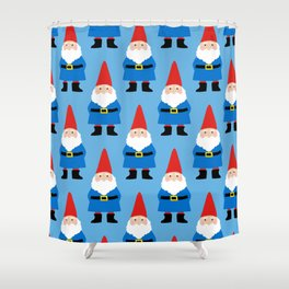 Gnome Repeat in Blue Shower Curtain