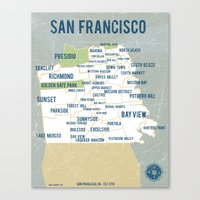 san francisco map Canvas Prints featuring San Francisco Map by Vassi Slavova