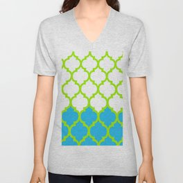 Moroccan Green and Blue Unisex V-Neck