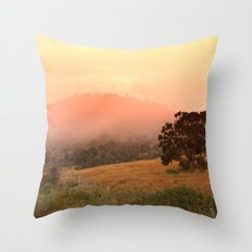 Early Fog In The Hills Throw Pillow