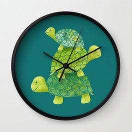 Turtle Stack Family in Teal and Lime Green Wall Clock
