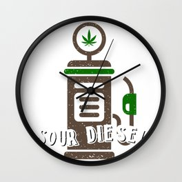 Sour Diesel Cannabis Weed Stoner Pothead Gift Funny Gas Pump graphic Wall Clock