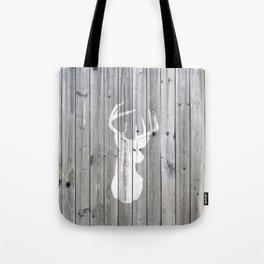 Hipster vintage white deer head on gray wood Tote Bag