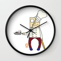 chef Wall Clocks featuring THE CHEF!! by Riot Clothing