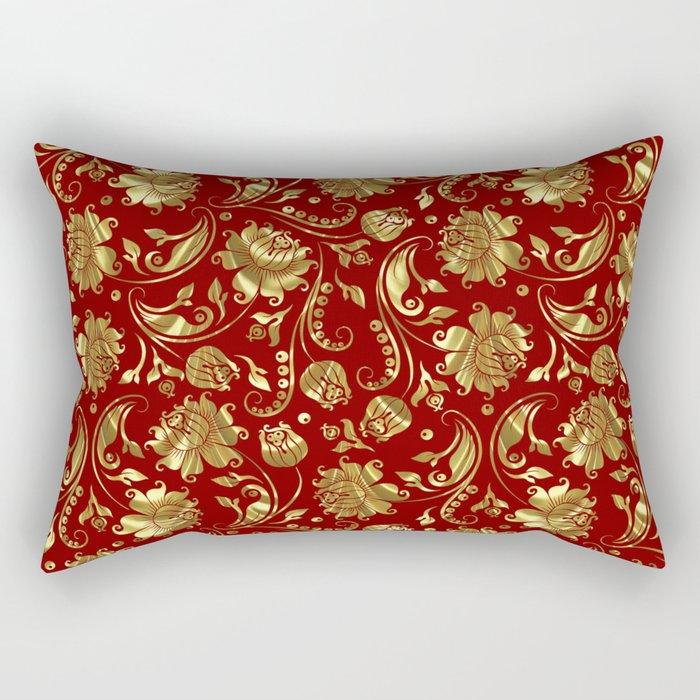 Dark Red & Gold Floral Damasks Pattern Rectangular Pillow