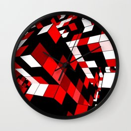 Rubik series 1, red Wall Clock