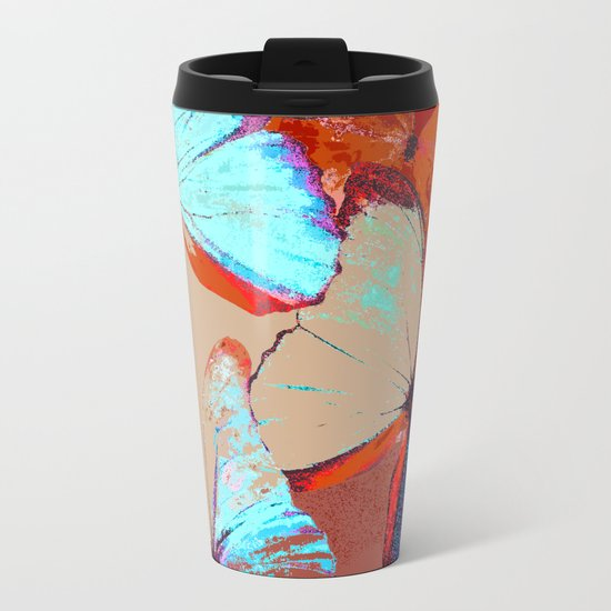 Butterflies in different colors Metal Travel Mug