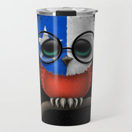Baby Owl with Glasses and Chilean Flag Travel Mug