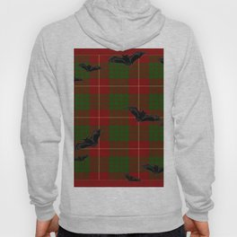 Scottish Tartan Pattern-Black Gothic Bats Art Design Hoody
